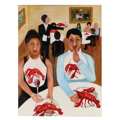 Dinner Scene Oil Painting
