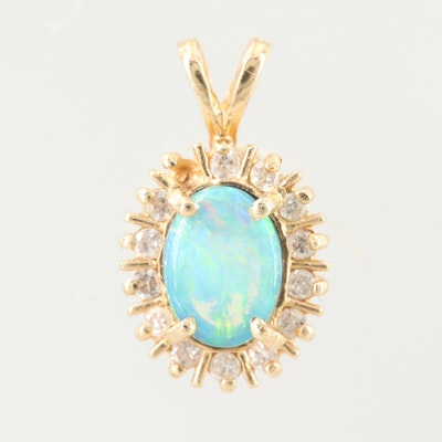 14K Yellow Gold Opal with Diamond Halo Pendant