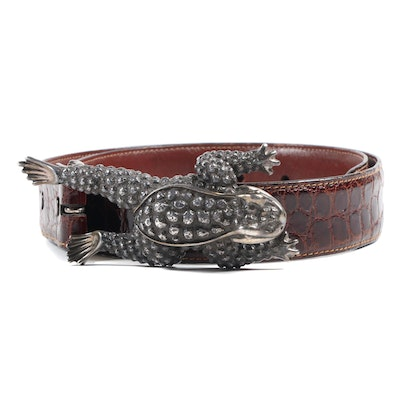 Barry Kieselstein-Cord New York Sterling Silver Frog Buckle Alligator Skin Belt
