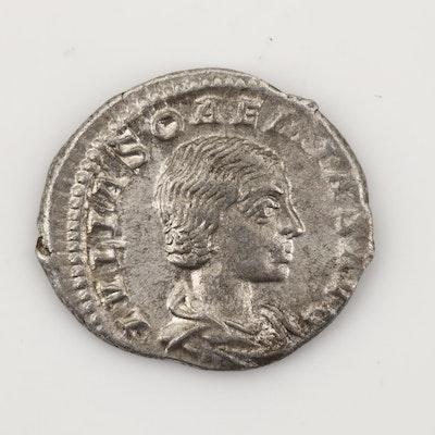 Ancient Roman Imperial AR Denarius of Julia Soaemias, Ca. 220 A.D.
