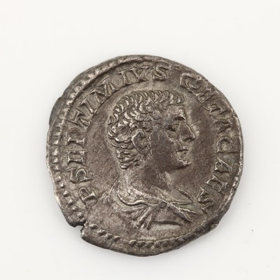 Ancient Roman Imperial AR Denarius of Geta, Ca. 209 A.D.