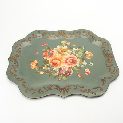 Hand-Painted Floral Metal Tray