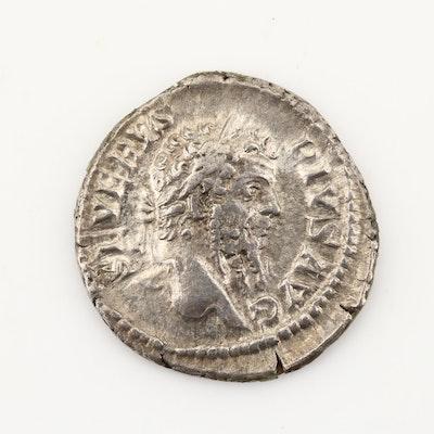 Ancient Roman Imperial AR Denarius of Septimius Severus, Ca. 209 A.D.