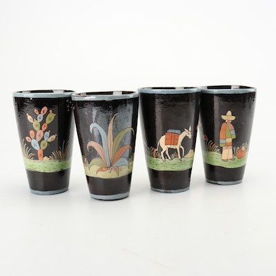 Hand-Painted Mexican Earthenware Tumblers, Early to Mid 20th Century
