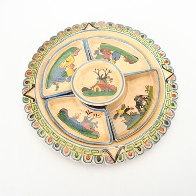 Hand-Painted Mexican Earthenware Appetizer Tray, Early to Mid 20th Century