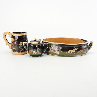 Hand-Painted Mexican Tableware and Casserole, Early to Mid 20th Century