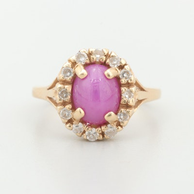 14K Yellow Gold Synthetic Star Ruby and Diamond Ring