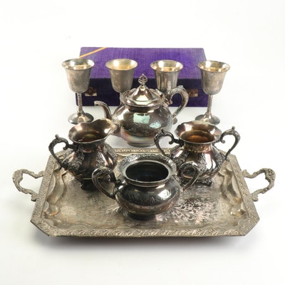 Silver Plate Tea Service and Goblets
