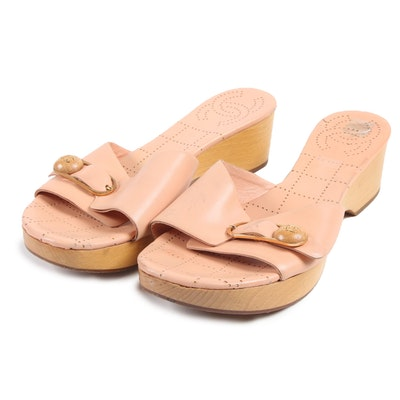 Chanel CC Buckle Wood Platform Slide Sandals in Peach Tone Leather, Italy