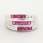 Platinum Triple Band Ruby Ring with Diamond Accents