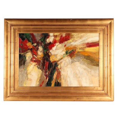 P. Collins Abstract Oil Painting