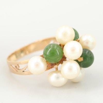 14K Yellow Gold Nephrite and Cultured Pearl Cluster Ring