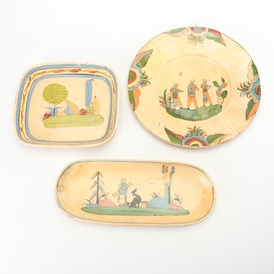 Hand-Painted Mexican Earthenware Charger and Serving Trays, Early to Mid 20th C.