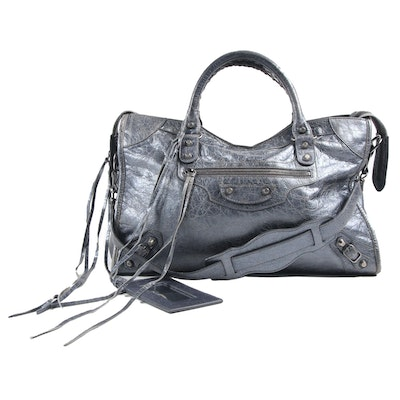 Balenciaga Motorcycle City Studded Satchel in Distressed Metallic Grey Leather