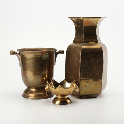Indian Brass Vase, Ice Champagne Bucket and Compote