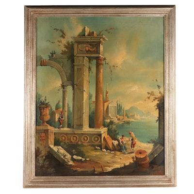 Italian Genre Scene Oil Painting