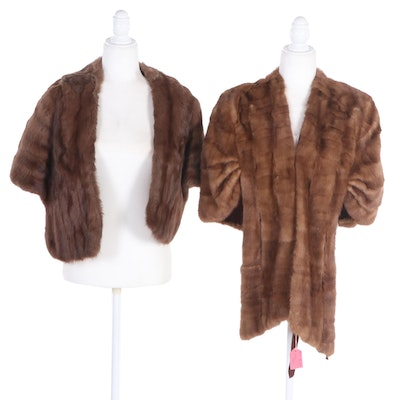 Mink Fur Stole and Squirrel Fur Stole, Mid-20th Century