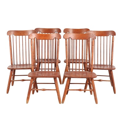 Keller Oak Barrel Back Dining Chairs, Mid to Late 20th Century