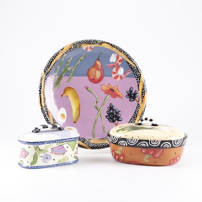 Droll Designs Hand-Painted Ceramic Platters and Serving Dishes