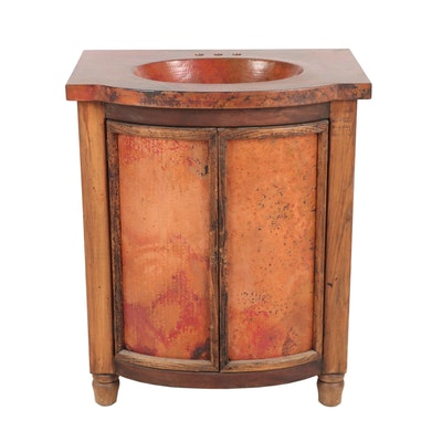 Pine and Copper Bathroom Vanity with Sink