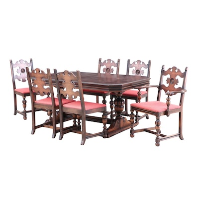 Berkey and Gay Walnut Dining Table and Dining Chairs, Circa 1920