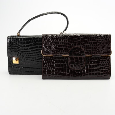 Emil Croc Embossed Patent Leather Baguette Bag and Envelope Clutch, Vintage