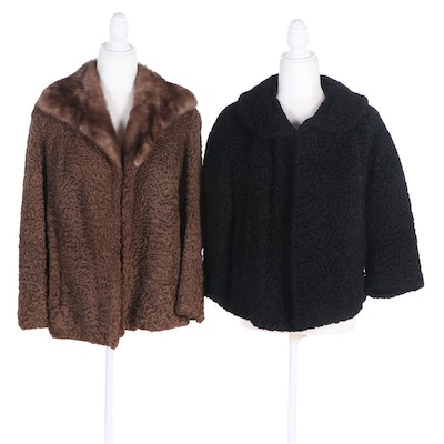Brown Persian Lamb Jacket with Mink Fur Collar, and a Black Persian Lamb Jacket