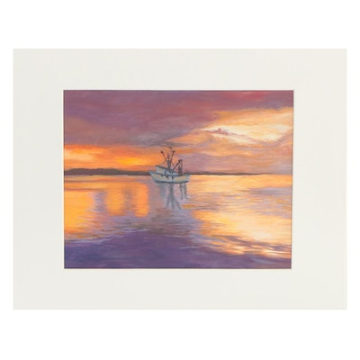 Oil Painting of Boat at Sea