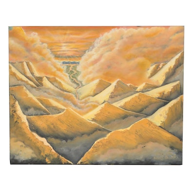 Richard W. Kerdolff Acrylic Painting of Mountainous Landscape
