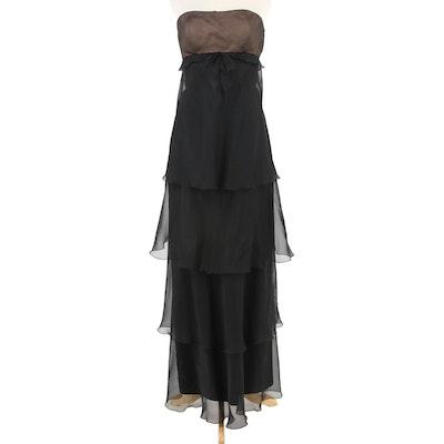 Jackie Roberts Black Chiffon Strapless Tiered Evening Dress