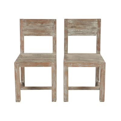 Pair of Contemporary Weathered Finish Wooden Side Chairs