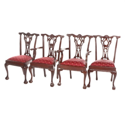 Four Chippendale Style Mahogany-Finish Wooden Dining Chairs, Late 20th Century