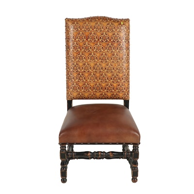 Baroque Style Leather Upholstered Side Chair, Late 20th Century