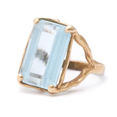 14K Yellow Gold Blue Topaz Ring