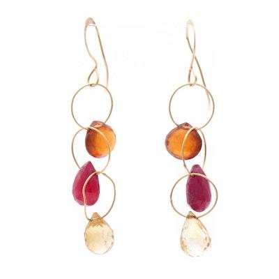 18K Yellow Gold Ruby Dangle Earrings