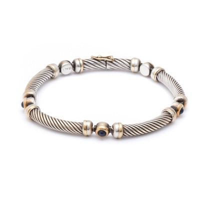 Sterling Silver and 18K Yellow Gold Sapphire Bracelet