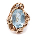 14K Yellow Gold Blue Topaz and Cubic Zirconia Ring