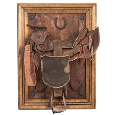 Mounted Western Saddle Wall Decor with Horseshoe Accents, Antique