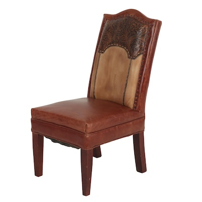 Contemporary Hand Tooled and Hand Stitched Leather Upholstered Wood Side Chair
