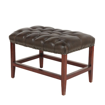 Contemporary Tufted Leather Upholstered and Wood Bench