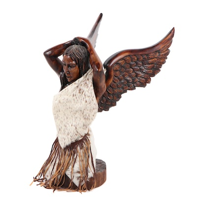 Late 20th Century Carved Wood Sculpture of Female Winged Figure