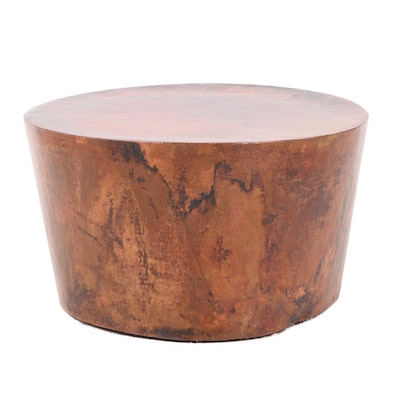 Round Hand Hammered Copper Side Table