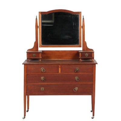 Vintage Wooden Vanity with Attached Mirror