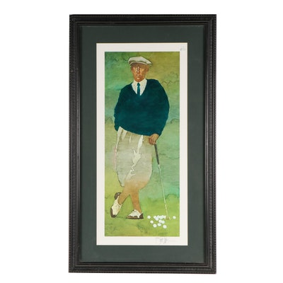 "Bart Forbes Offset Lithograph ""The Golfer"""