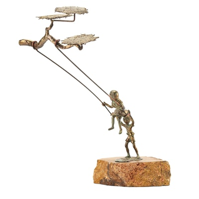 Copper Sculpture of Children on Swing