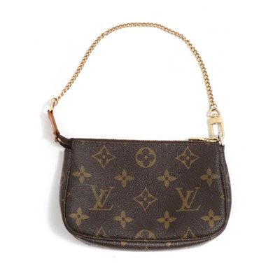 Louis Vuitton Paris Mini Pochette Monogram Canvas Wristlet
