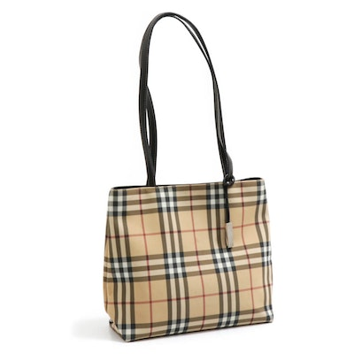 """Burberry London """"Nova Check"""" Tote in Coated Canvas with Leather Straps"""