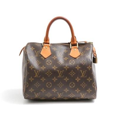 Louis Vuitton Paris Monogram Canvas Speedy 30 Bag with Shoulder Strap