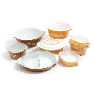 """Pyrex """"Early American"""" and """"Butterfly Gold"""" Glass Bakeware, Vintage"""