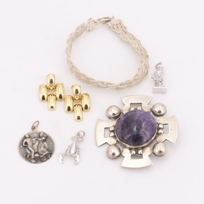 14K Yellow Gold Earrings, Silver Pendant and Silver-Tone Brooch and Bracelet